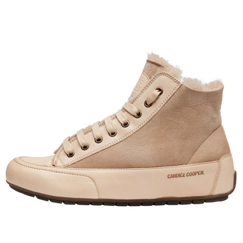 PLUS MONT. Nappa leather and sheepskin ankle sneakers Sand-yellow 2016058019102-30