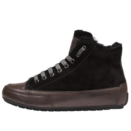 PLUS FUR Suede leather ankle sneakers Charcoal grey/Black 2016078039121-30